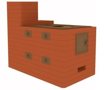 отопительно-варочная печь, часто с встроеным водным котлом и грубой (дымооборотами)